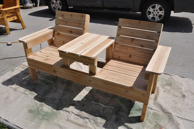 How to build a double chair bench with table free plans for Outdoor furniture projects