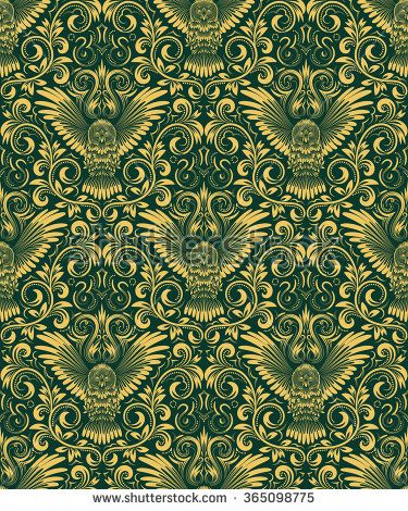 Damask Seamless Pattern With Owl Silhouette Vintage Repeating Background Gold Green Floral Ornament In Ba Background Vintage Owl Silhouette Seamless Patterns