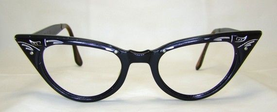 On SALE Meow  Black Cat  1950s  Catseye Eyeglasses  frames,was 85