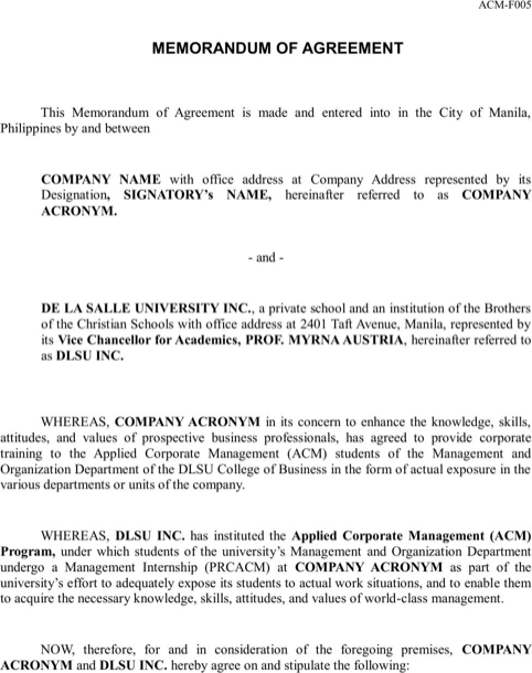 Memorandum Of Agreement  Money MattersEmpire Building
