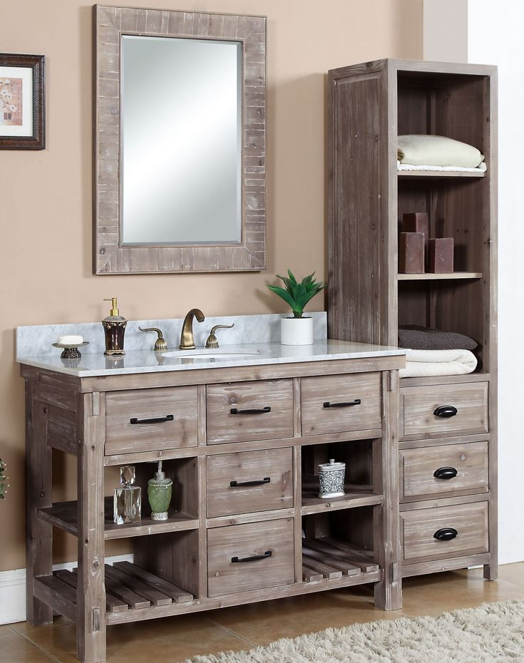 48 Inch Rustic Bathroom Vanity Carrera White Marble Top With