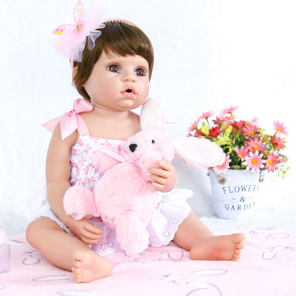 22in Body Silicone Reborn Baby Doll Girls Collecting Dolls Pink Realistic Full