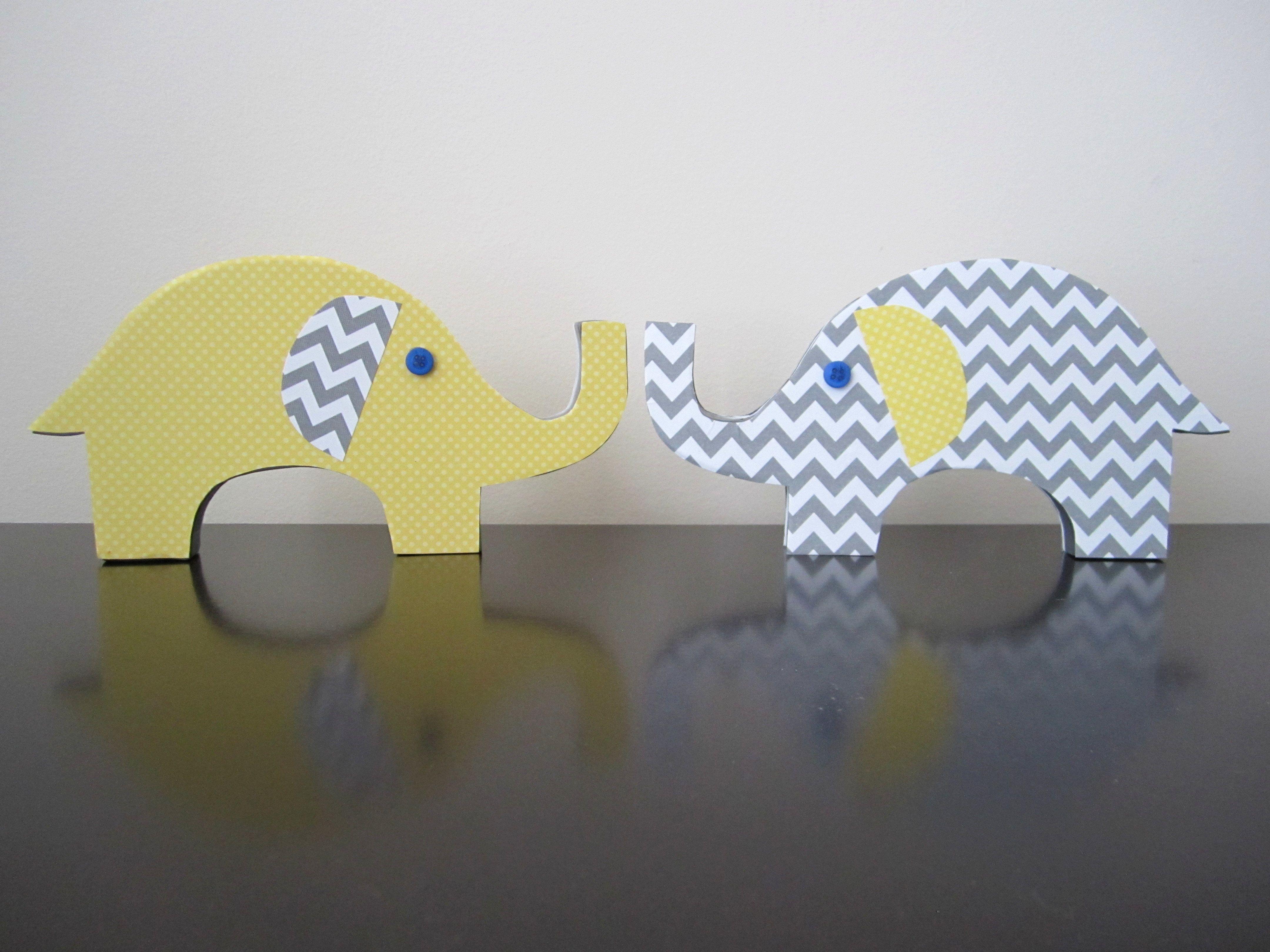 Wood Elephants \u0026 Scrapbook Paper \u0026 Buttons for eyes \u003d baby shower ...