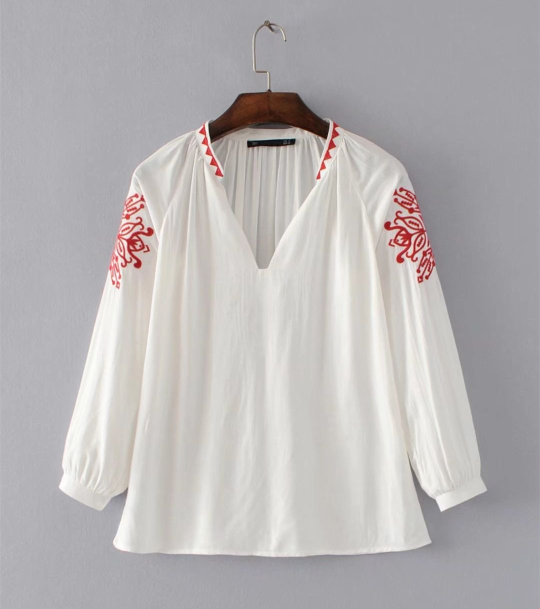 >> Click to Buy << Vintage Boho Floral Embroidery White Shirt Women Summer V-neck Lantern Sleeve Blouse Female Cotton Shirts Loose Casual Tops #Affiliate