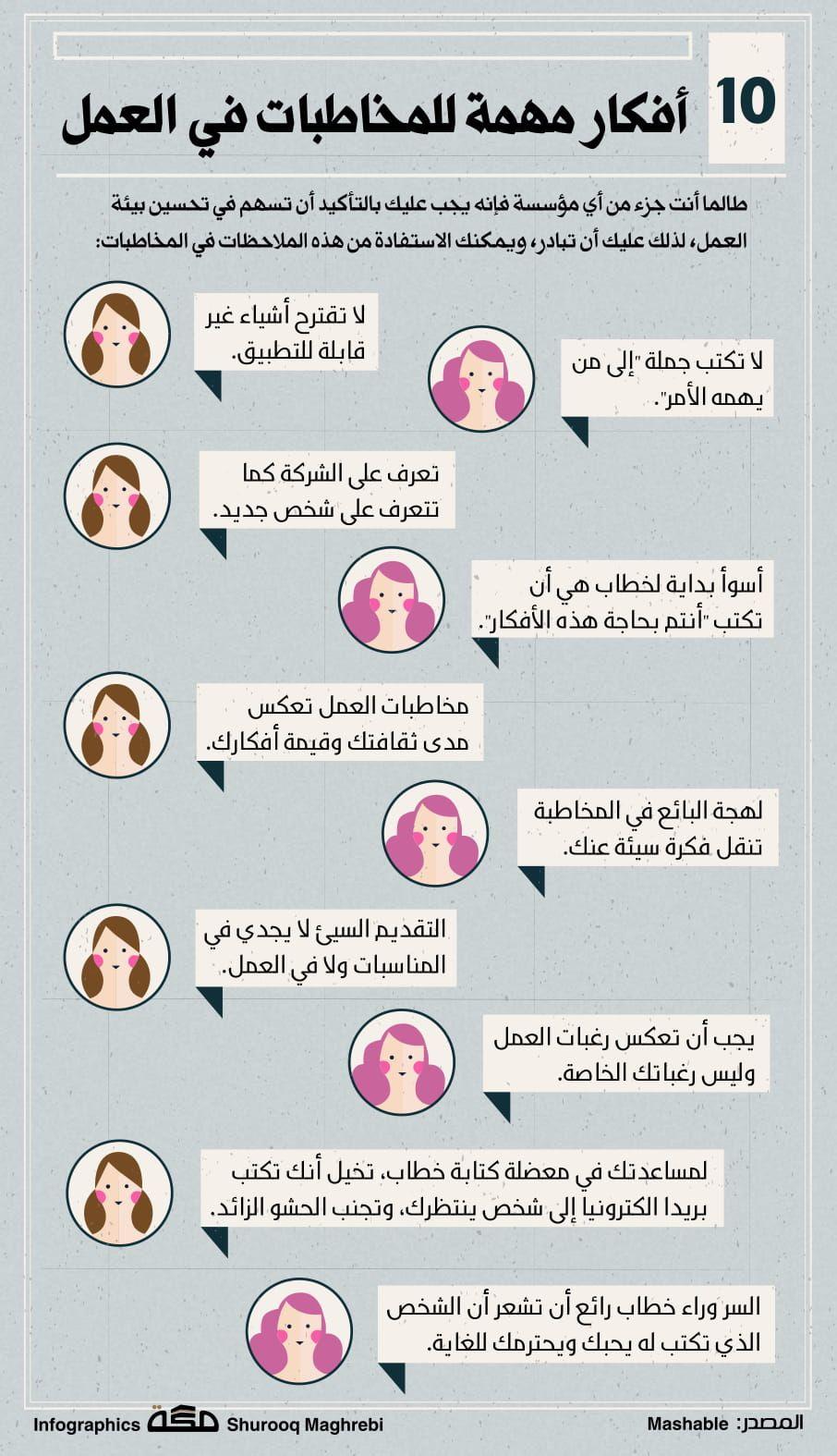 10 أفكار مهمة للمخاطبات في العمل صحيفة مكة انفوجرافيك توظيف Life Rules Infographic Life