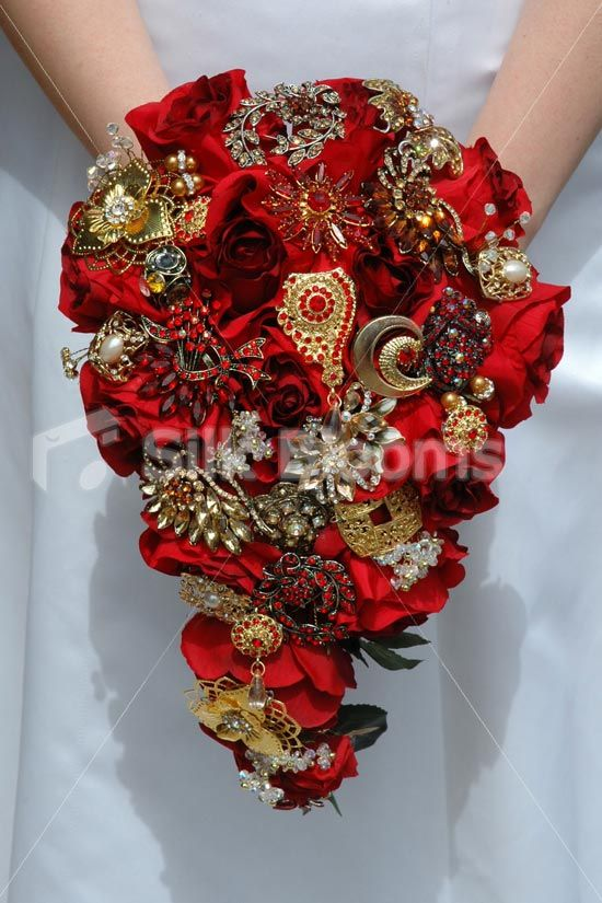 Stunning Cascading Red Rose Bridal Bouquet W Crystal Brooches