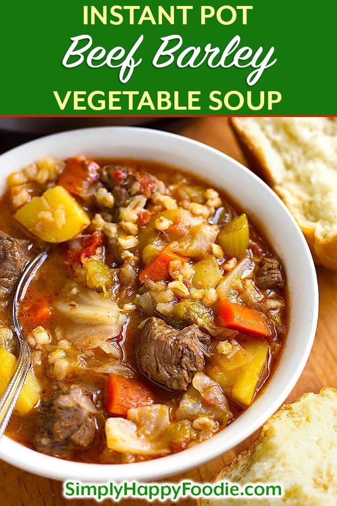 Instant Pot Beef Barley Vegetable Soup | Simply Happy Foodie