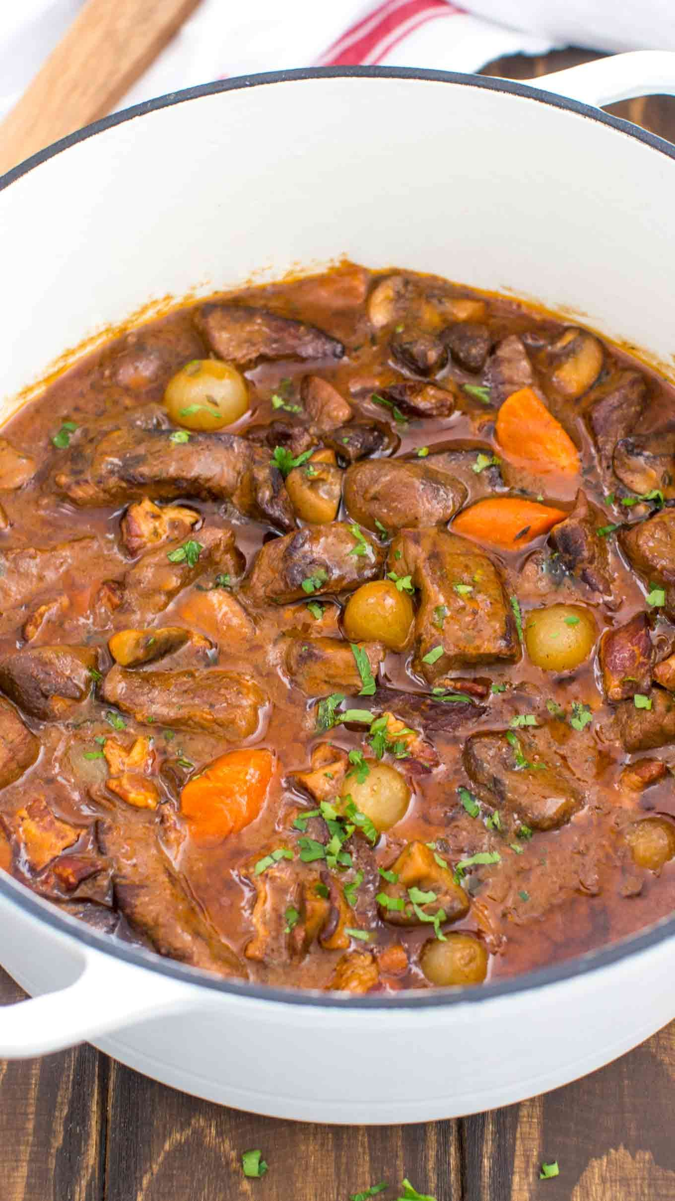 Beef Bourguignon Beef Bourguignon is rich in veggies and flavors, the meat is super moist, and literally melts in your mouth.#beefbourguignon