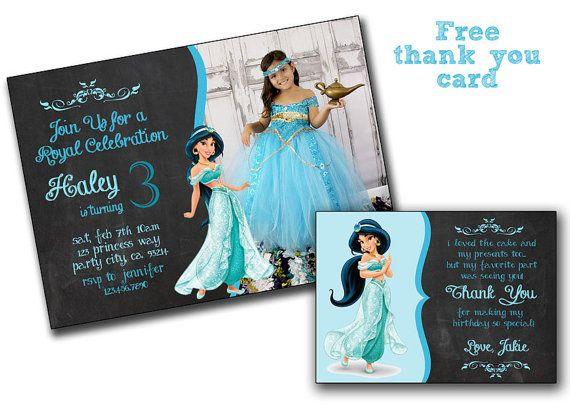 Disney Princess Jasmine Birthday Card Jasmine Invitation