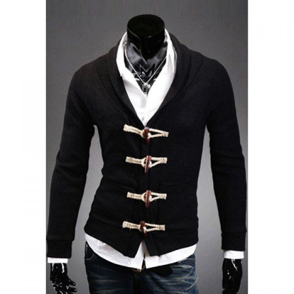 Casual Style V-Neck Wood Buttons Embellished Long Sleeves Solid ...