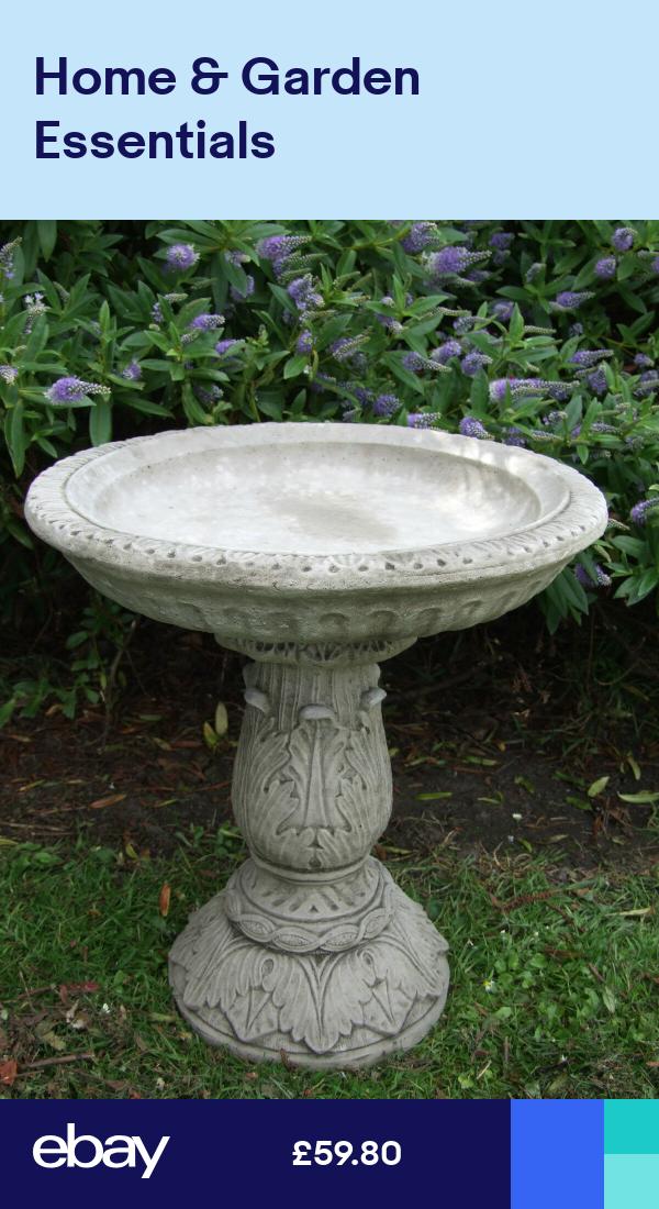 Ornate Bird Bath Feeder Table Hand Cast Stone Garden Ornament Patio Onefold Uk Bird Bath Garden Ornaments Garden Stones