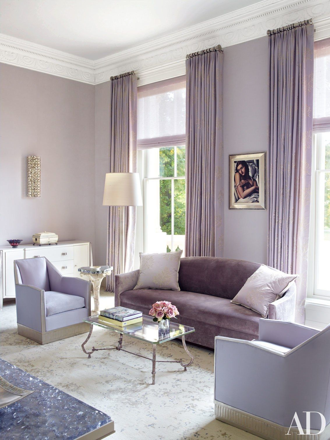 An Incredible London Mansion Is Transformed By Timothy Haynes And Kevin Roberts Lavender Living Rooms Purple Living Room Lilac Living Rooms #purple #living #room #accents