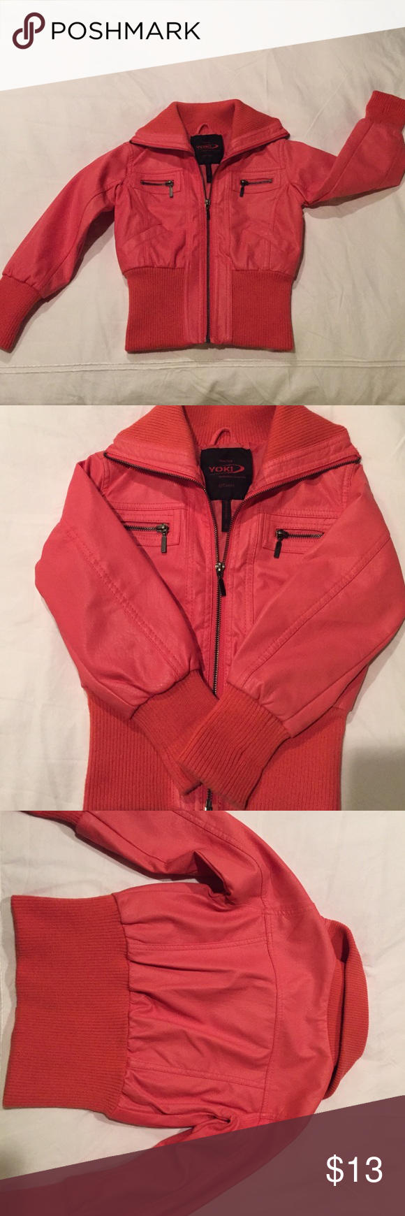 Ny Yoki Outerwear Collection Faux Leather Jacket New York Yoki Outerwear Collection Faux Leather Jacket Coral Col Faux Leather Jackets Clothes Design Jackets [ 1740 x 580 Pixel ]