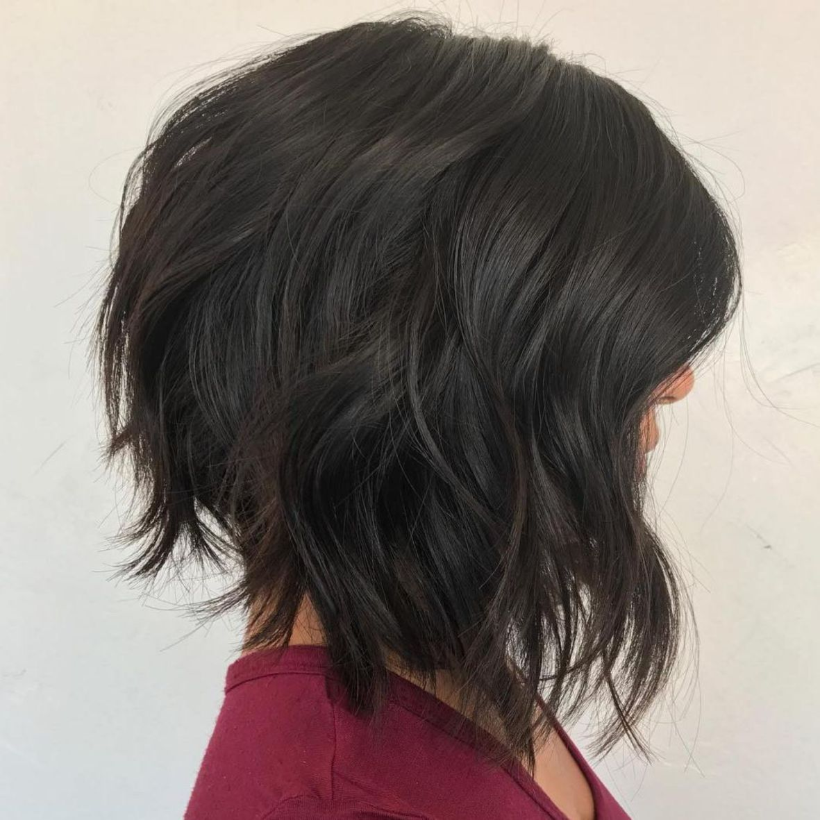 Inverted Chopped Brunette Lob Shorthairstyles  Short hairstyles