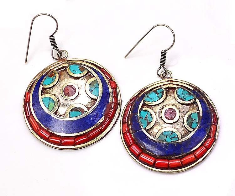 """Tibetan Handcrafted Vintage 15Gm. Turquoise Earring Jewellery Size 2"""" (G 9366) #FASHION #EARRING"""