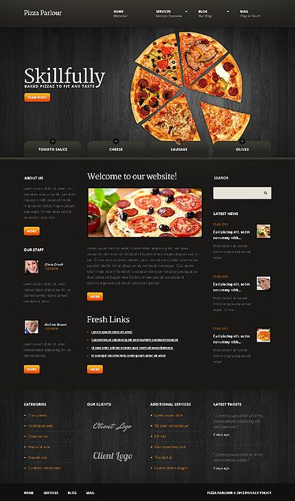 Template 41308 Pizza Parlour Joomla Template With Images