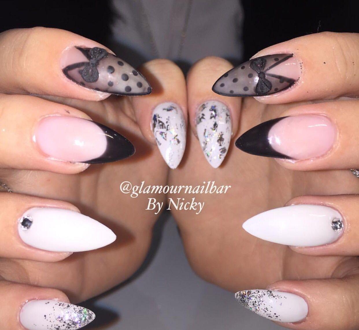 Almond nails, matte, 3D bows, silver foil, polka dots, glitter fade ...