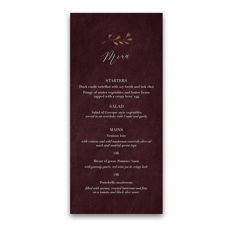 Wedding Menu Burgundy And Gold Modern Script Handwriting Featuring