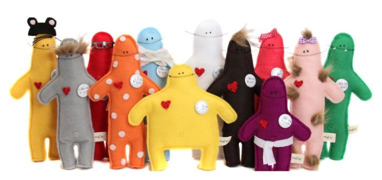 Misfit Dolls by Usus: With giggly names like Frances Funbags, Megan Muffintop, Frankie Four Eyes, Bucky and Monty Monobrow to encourage us to laugh at our 'perfectly imperfect' selves, find them here http://www.etsy.com/shop/usus #Doll #Felt_Doll #Misfit_Dolls #Usus