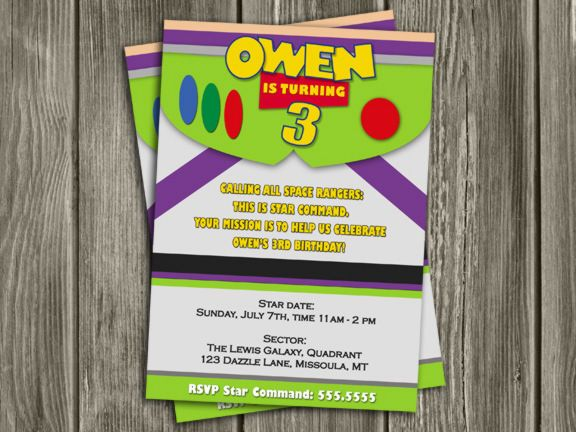 Buzz Lightyear Birthday Invitation | Toy Story Inspired | FREE Thank You Card Included | Printable | Become a loyal fan on Facebook to receive freebies and see the latest designs! www.facebook.com/DazzleExpressions