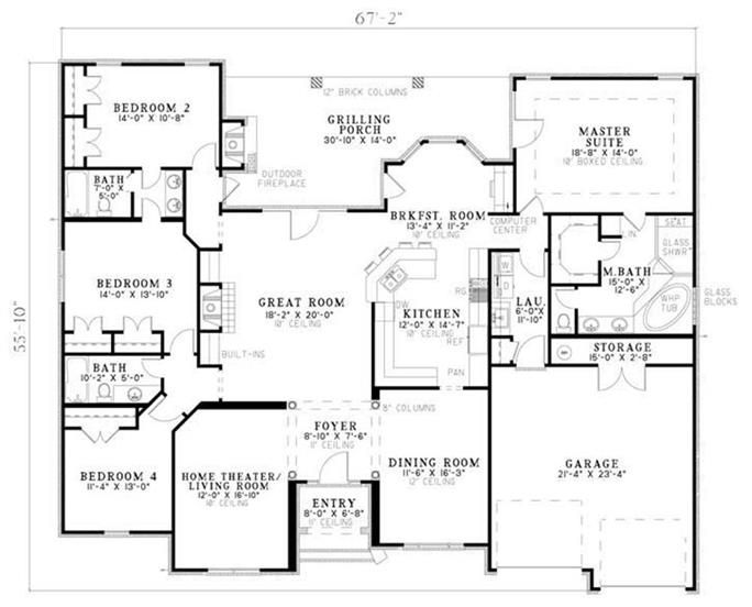 European Ranch Style House Plan 4 Bedroom 3 Bathroom House Plans One Story Country Style House Plans European House Plans