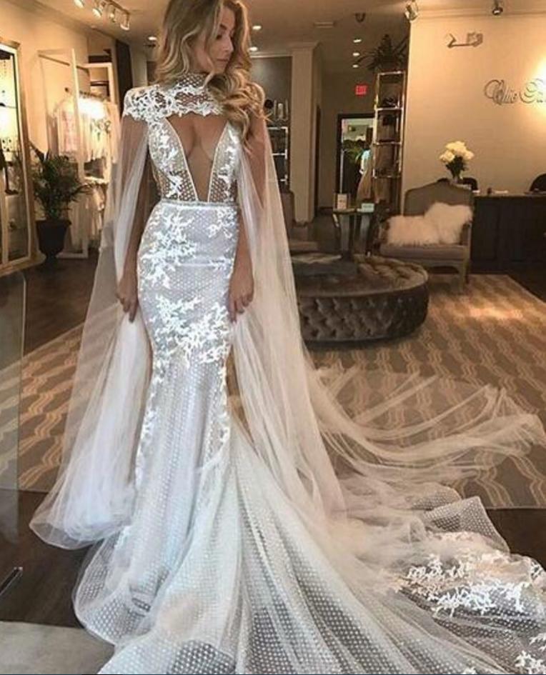 80a2346a4c50 Unique Mermaid Lace Wedding Dresses Sexy Deep#BridalDresses #WeddingGowns # Wedding #WeddingDresses