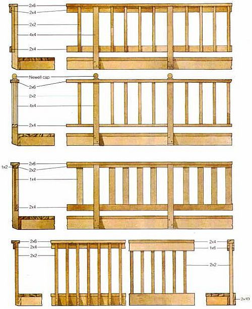 Deck designs deck top rail designs for Wood deck designs free