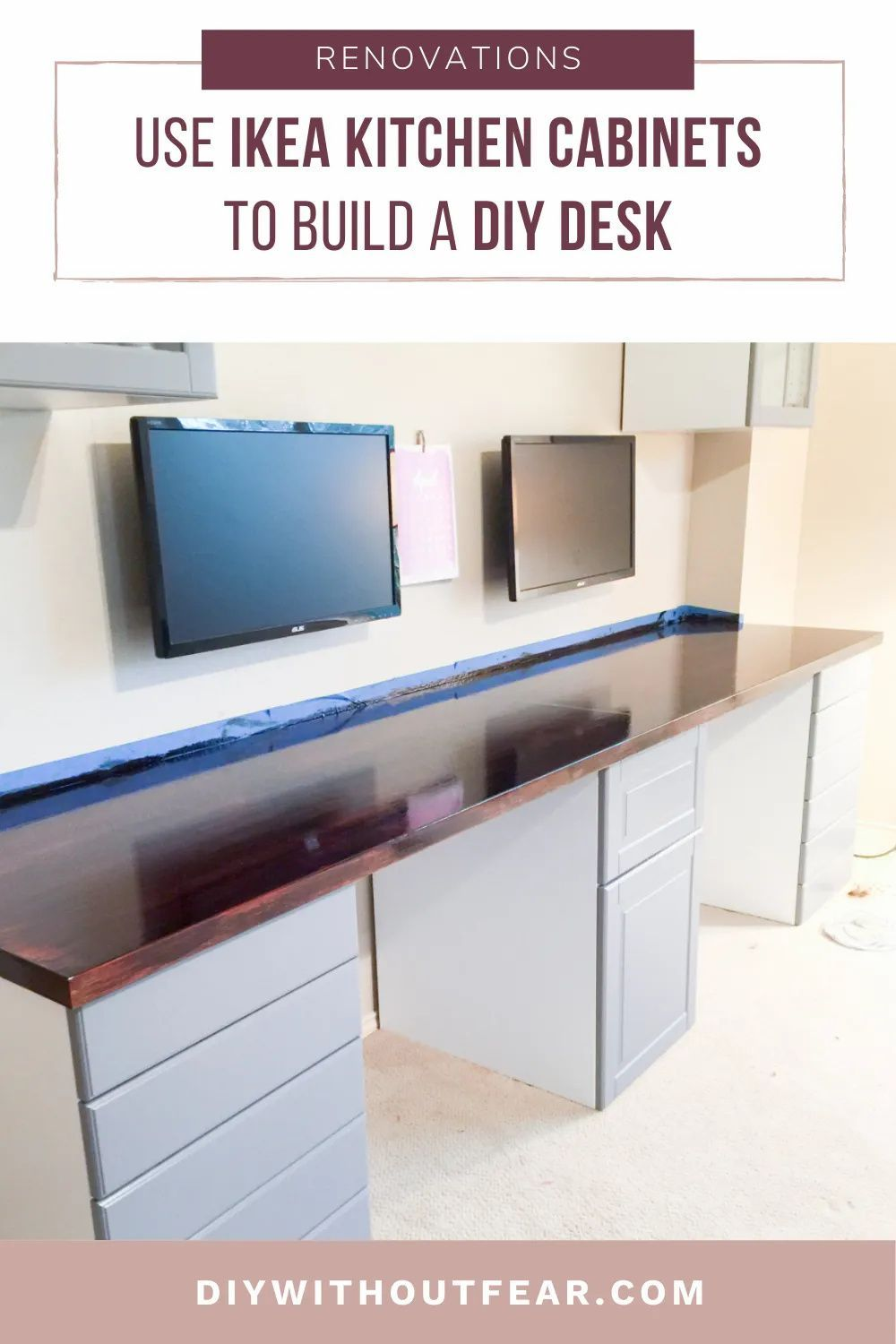 How To Make A Desk From Kitchen Cabinets Part Two Diy Without Fear In 2020 Ikea Kitchen Cabinets Ikea Kitchen Kitchen Cabinets