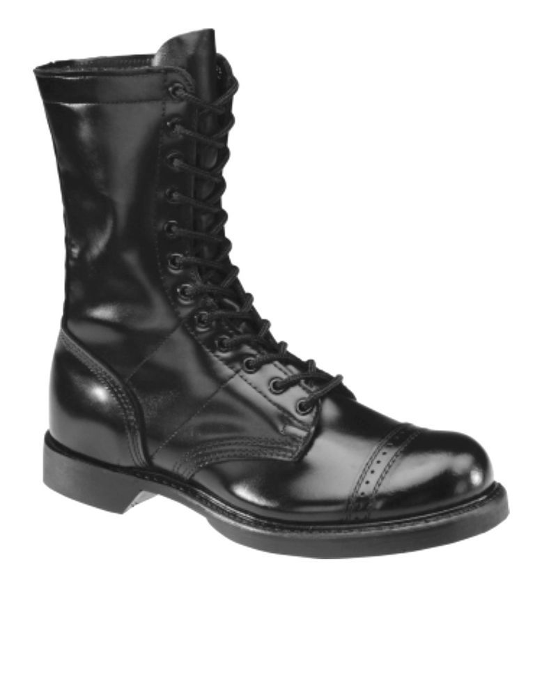 a3f0e9cebe3 Black Patent Leather Jump Combat Boots Military Motorcycle Cap Toe ...