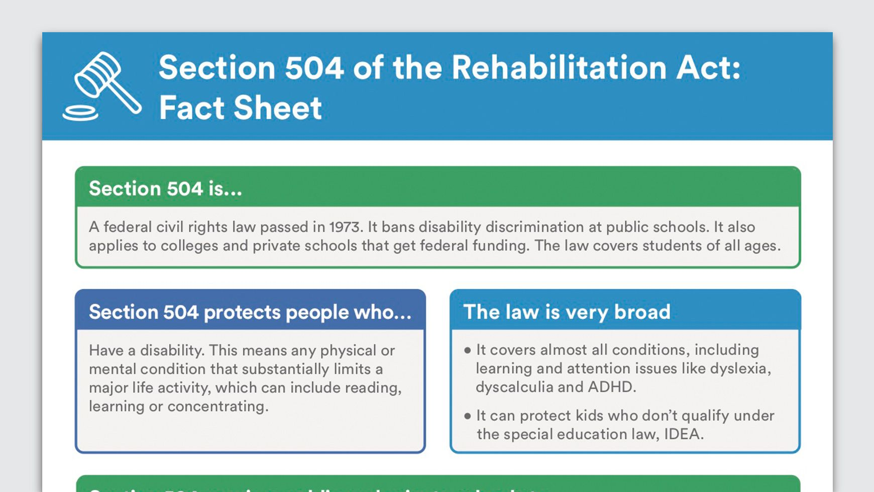 Section 504 Fact Sheet Fact Sheet Special Education Facts