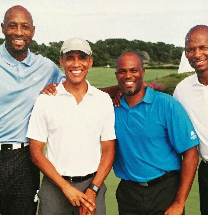 Alonzo Morning,President Obama, Chris Spencer &Ray Allen