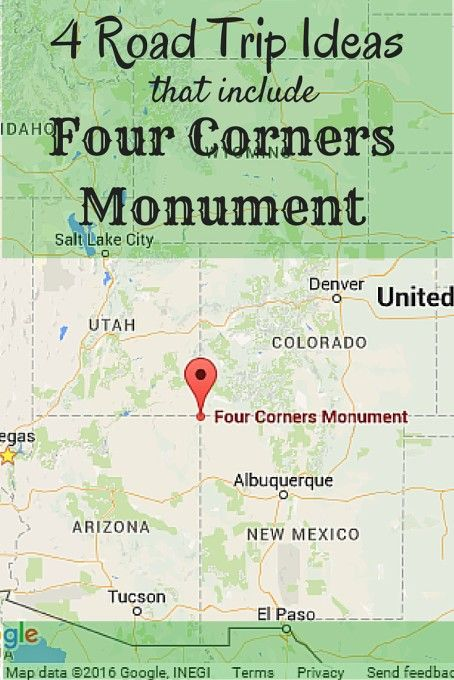 Road Trips Ideas That Include Four Corners Monument States - Us map 4 corners