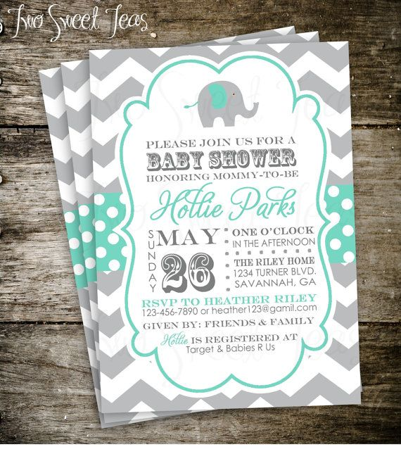 Gianna S Pink And Gray Elephant Nursery Reveal: Elephant Baby Shower Invitation Chevron Gray Pink Blue