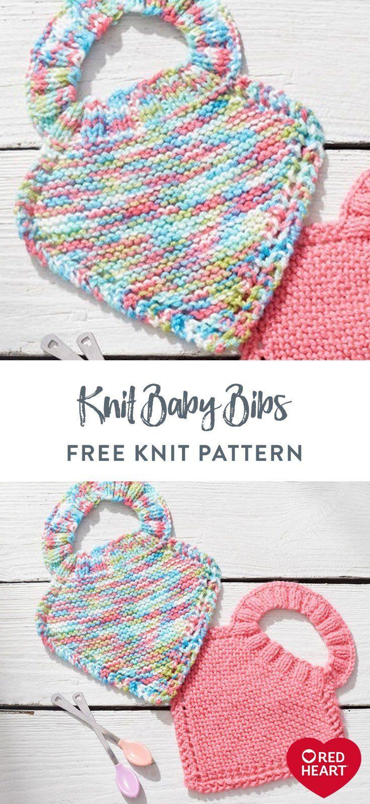 Knit Baby Bibs free knitting pattern in Red Heart Baby ...