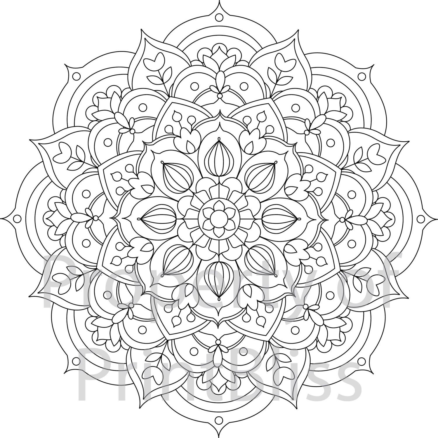 30 Flower Mandala Printable Coloring Page By PrintBliss On Etsy