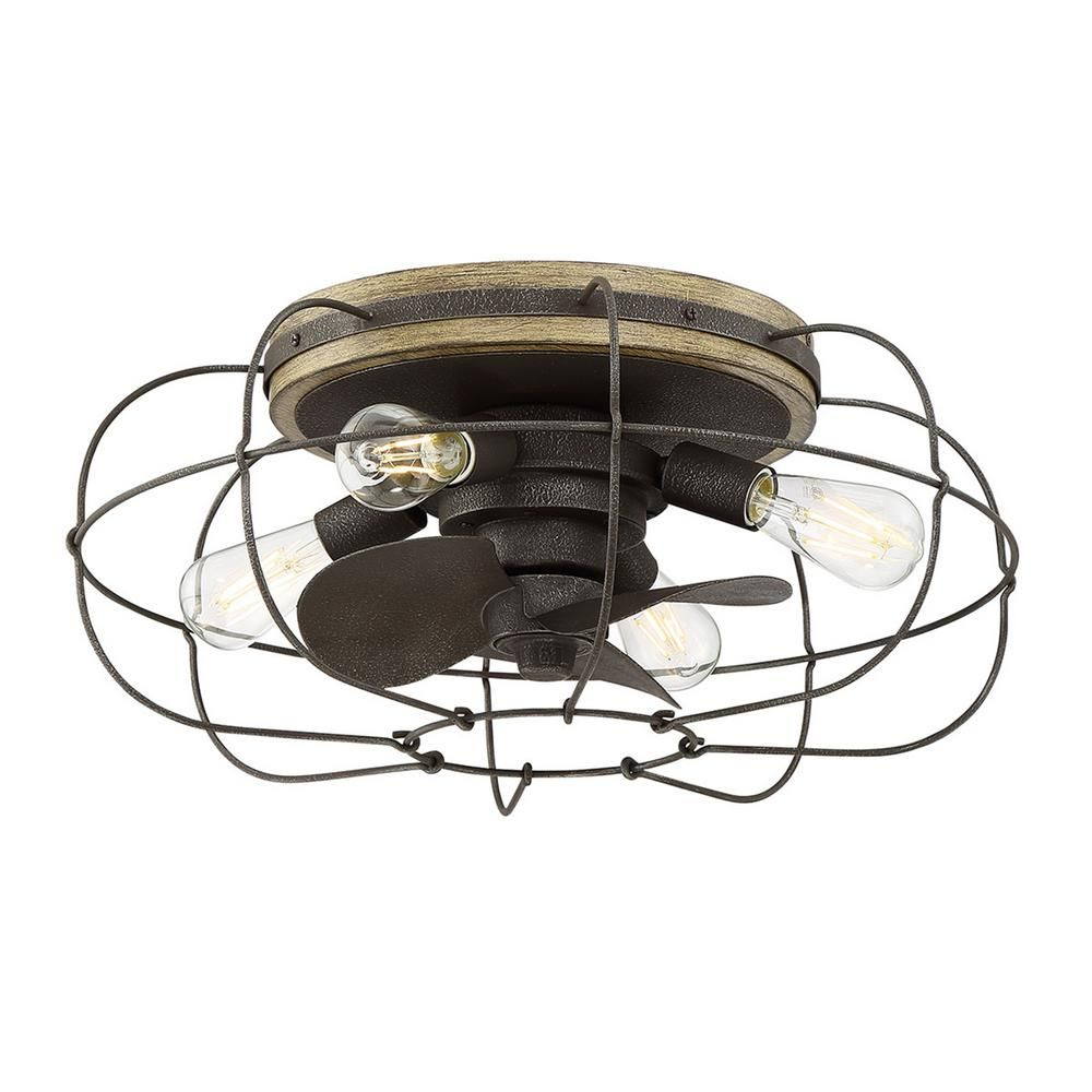 Fifth And Main Lighting Junction 22 In Indoor Charred Iron Ceiling Fan With Light And Remote Control Wl 2339ci The Home Depot Flush Mount Ceiling Fan Ceiling Fan With Light Ceiling Fan