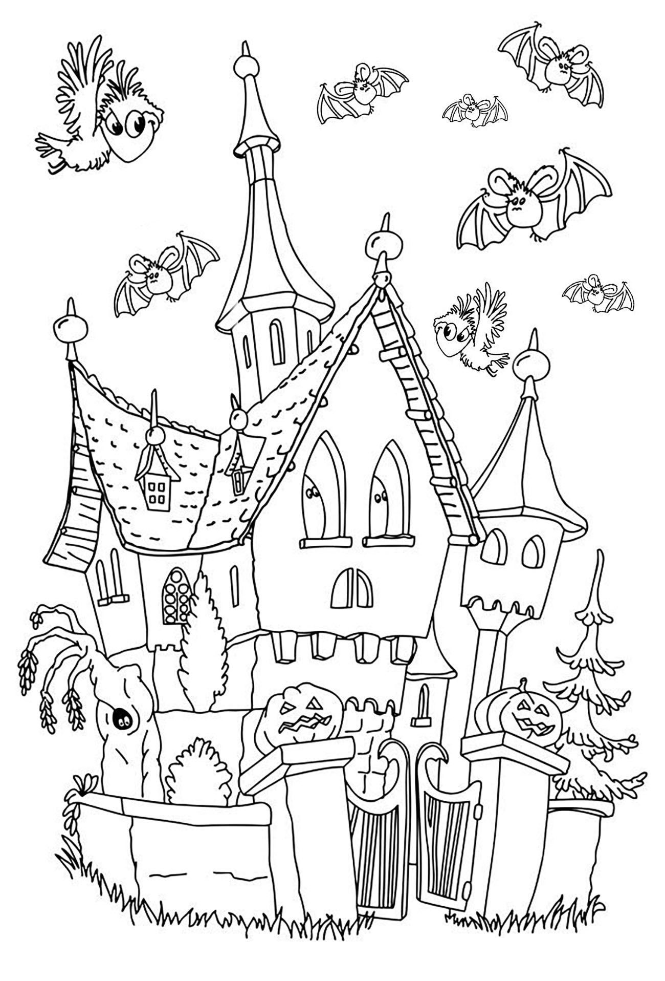 Haunted Castle Cartoon Style From The Gallery Events Halloween Halloween Coloring Pages Halloween Coloring Coloring Book Pages