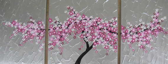 Cherry Blossom Painting Tree Wall Decor Trees Three Large 3 Canvases Abstract Tree Painting Canvas Cherry Blossom Painting Tree Painting