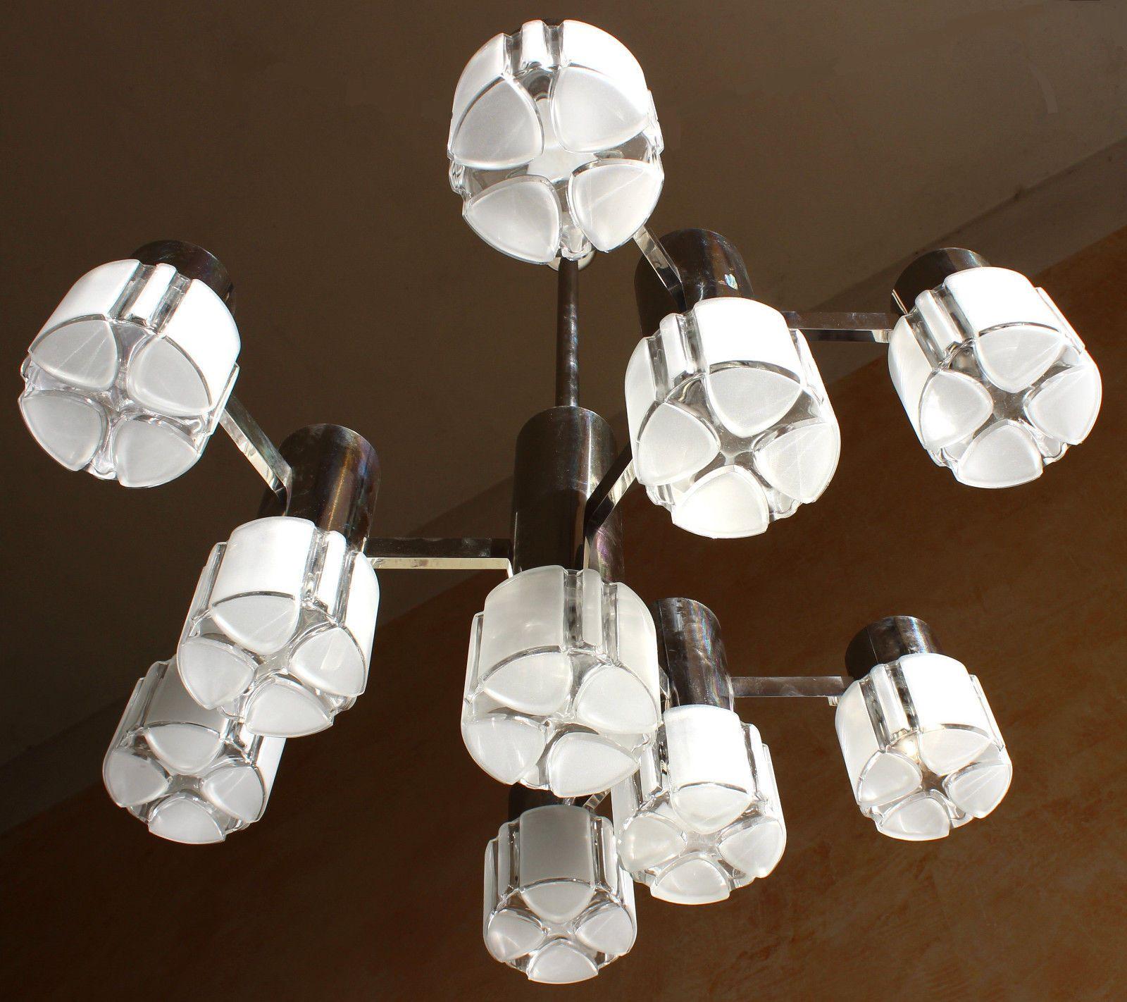 10 Lights Sciolari Cubic Art Glass Chandelier Brass Chromed 1970s Mid  Century