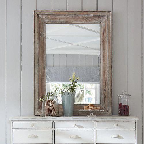 Holzspiegel PERRINE, H 112cm, geweißt