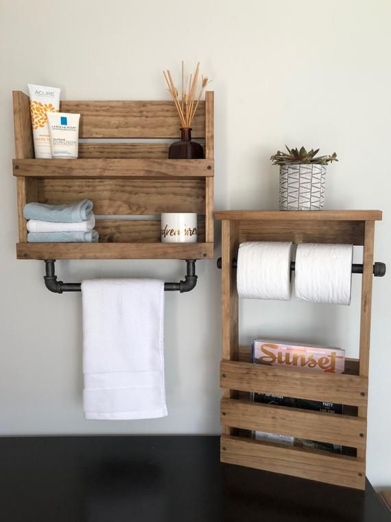 Photo of Bathroom Set Shelf With Pipe Towel Bar, Toilet Paper Magazine Holder, Rustic Bathroom Shelves Set, Industrial Modern Bathroom Decor Shelf