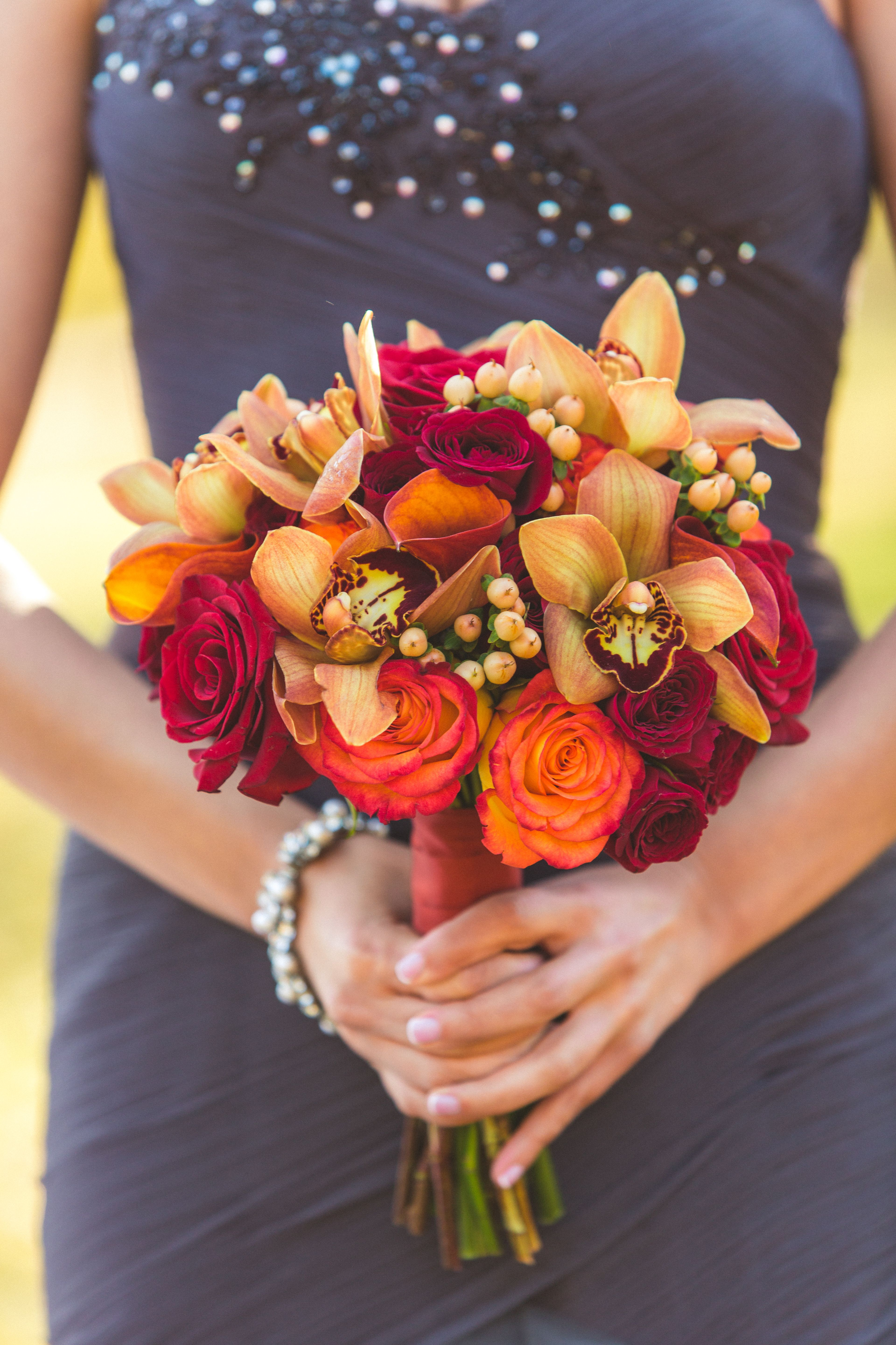 Red And Orange Rose Calla Lily And Orchid Maid Of Honor Bouquet