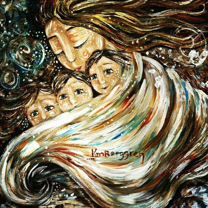 Картинка где мама с тремя детьми