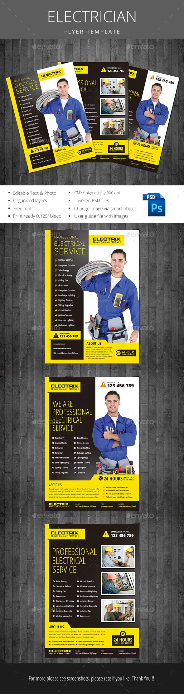 Electrician Flyer  Graphics Web Desing And Font Logo