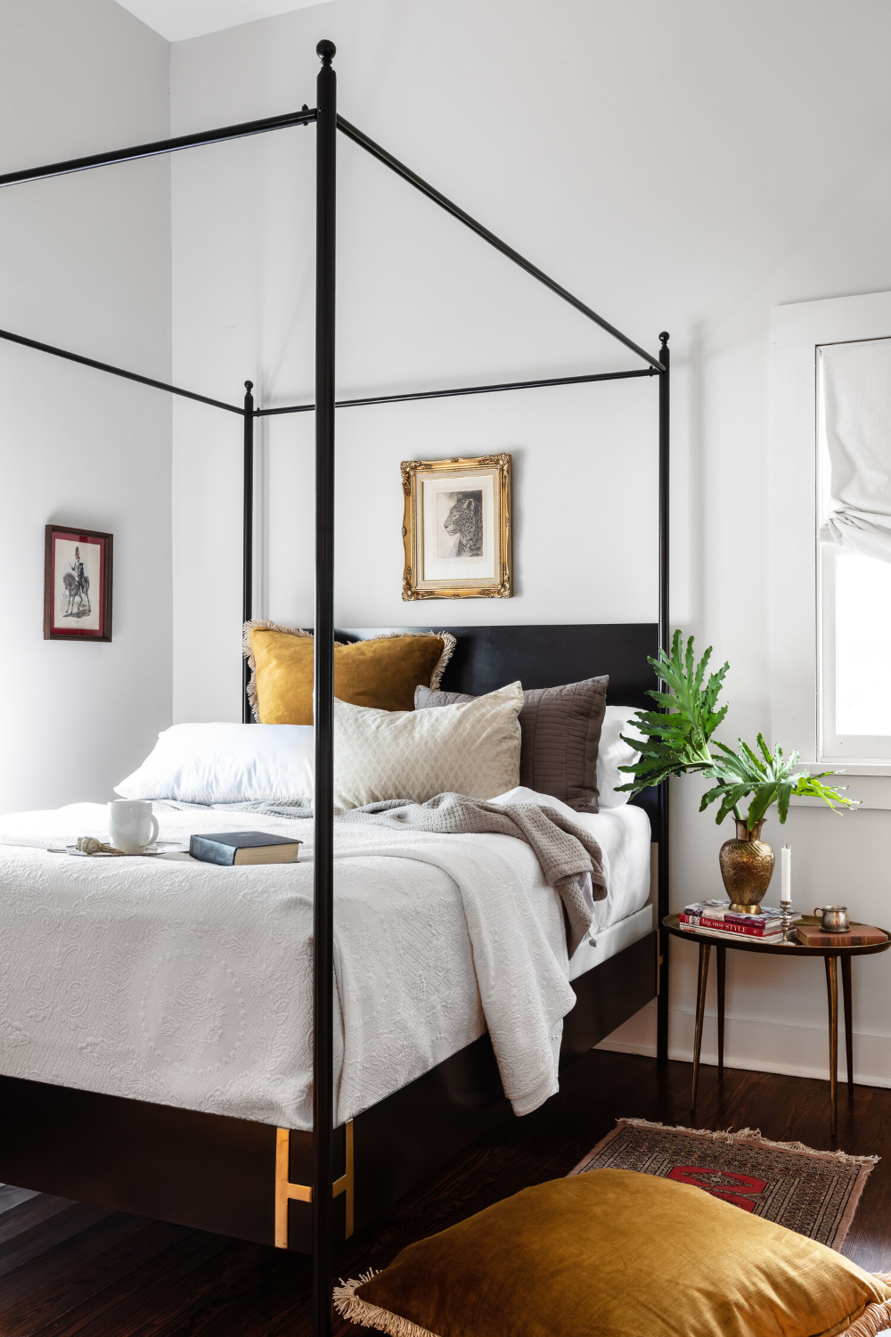 Josephine Black Metal Four Poster Canopy Bed In 2020 Home Decor