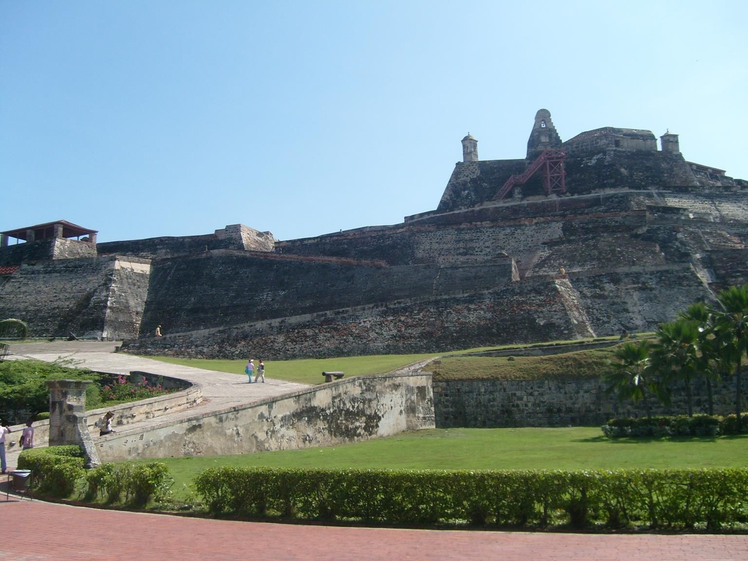 The iconic fortification El Castillo in Cartagena. Get there by bus with AndesTransit.com