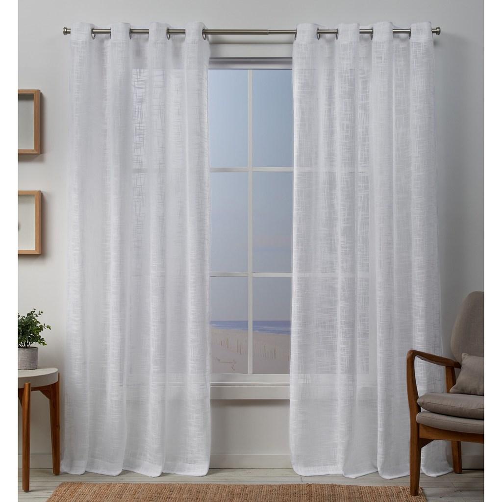 Exclusive Home 2 Pack Sena Two Way Slub Yarn Sheer Window Curtains