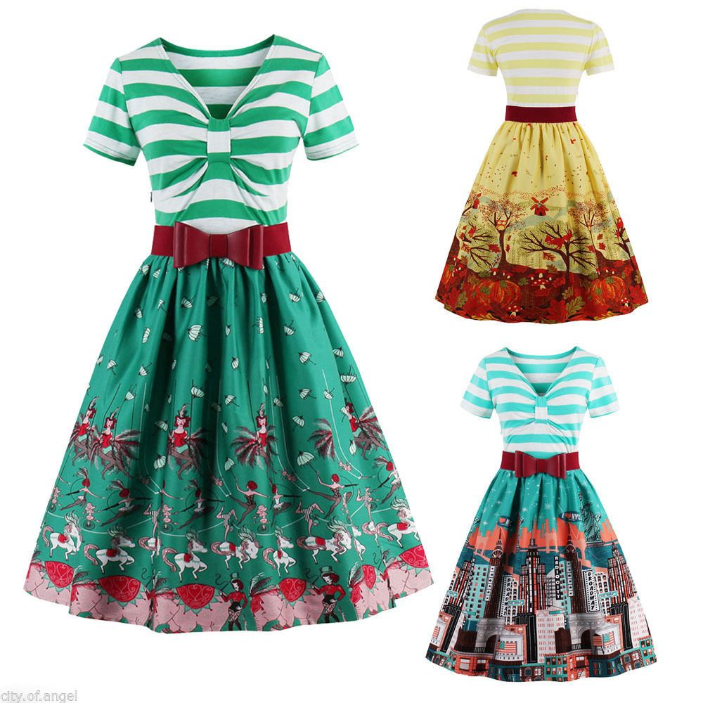 Nice Great US SALE Women\'s Sailor Nautical Vintage Dress Striped ...
