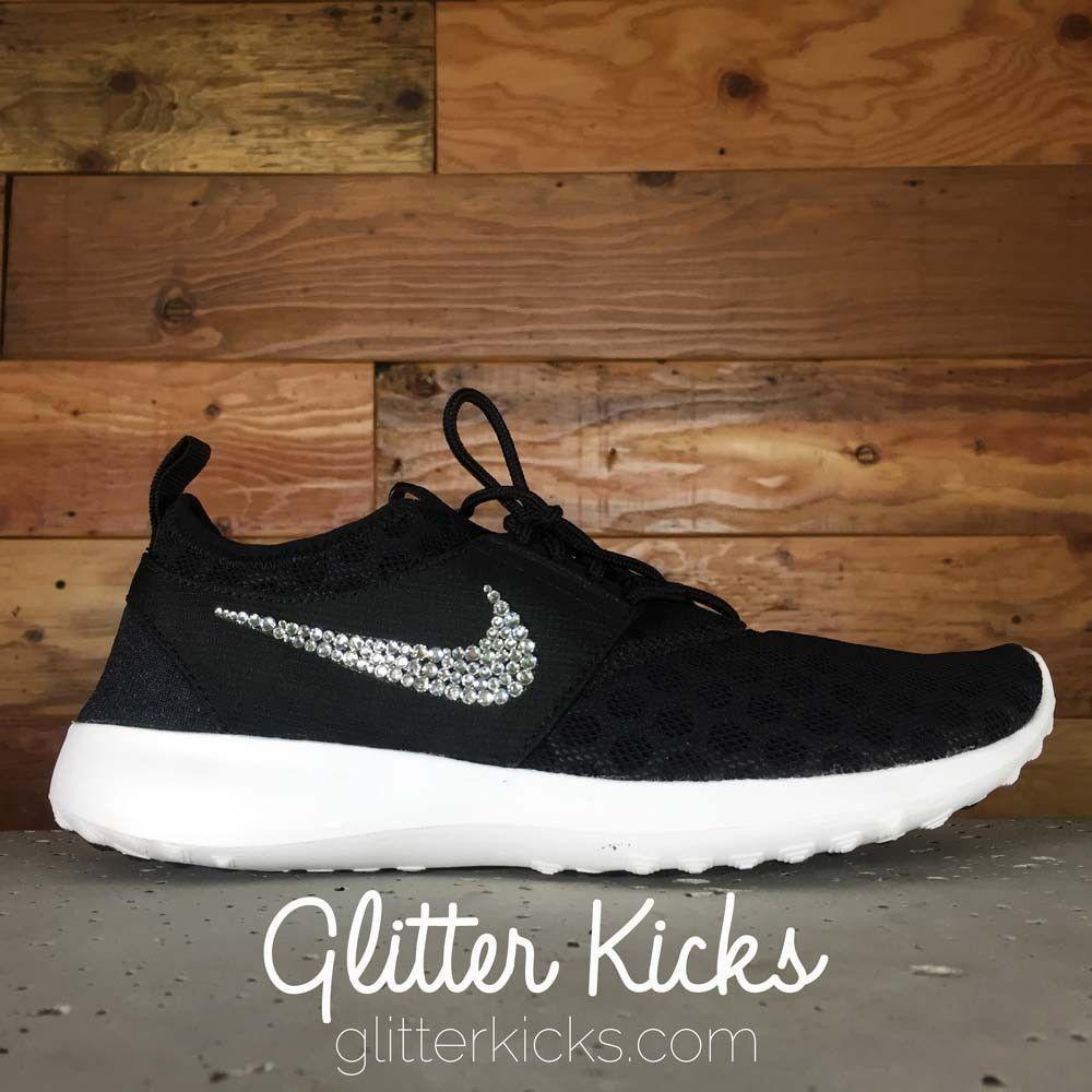 Nike Juvenate Running Shoes By Glitter Kicks - Customized With Swarovski  Crystal Rhinestones -Black White 90206e0bf