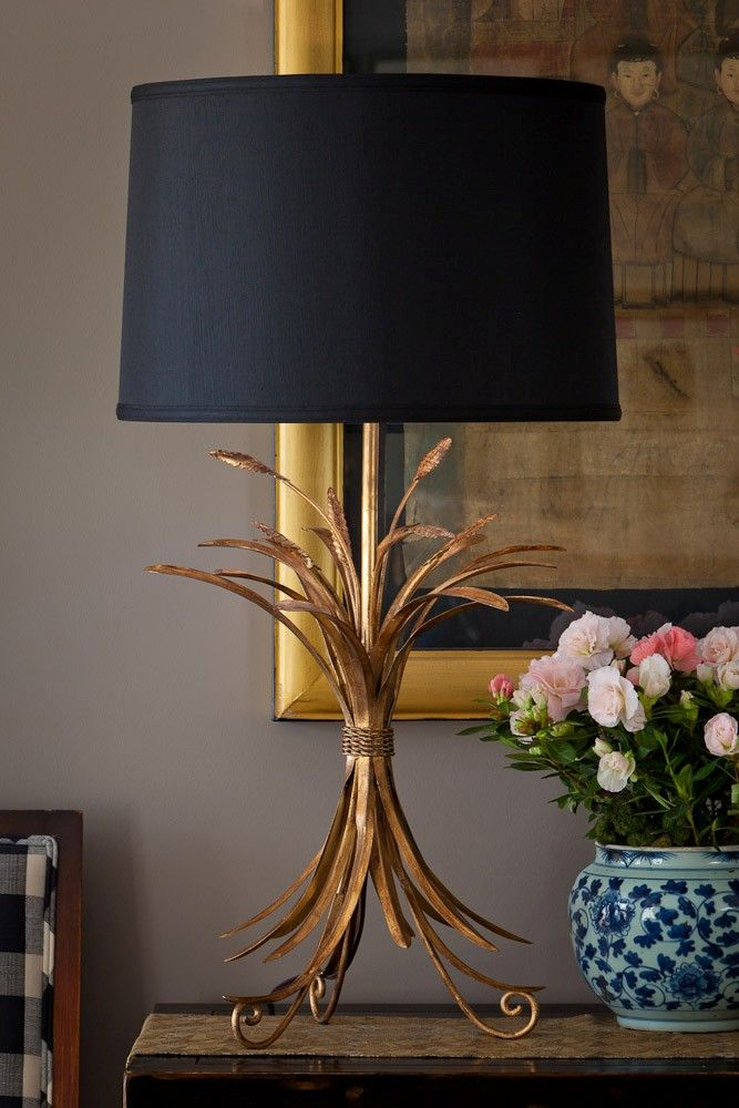 Dessau Home Antique Gold Wheat Lamp With Black Shade Black Lampshade Gold Table Lamp Buffet Lamps